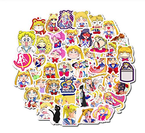 100St 2 Pack Cartoon Sailor Moon Cartoon Stickers Waterdicht Pvc Skateboard Snowboard Gitaar Bagage Laptop Sticker Kids Toy