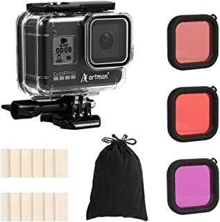 Artman Housing Case Filter Kit for GoPro Hero 8 Black, Waterproof Case Diving Protective Housing Case Under 197FT(60M)+ 3-Pack Filter + 12 Anti-Fog Inserts + Bracket Accessories