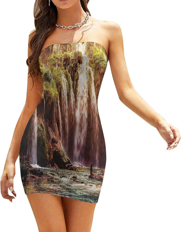 Women's Strapless Bodycon Club Dress Waterfall Flowing Down Rocks Dresses