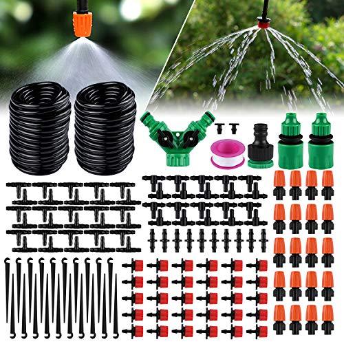 Emooqi Système d'irrigation Jardin, 149 Pcs Micro Irrigation Goutte à Goutte Kit Arrosage Automatique,Systeme Arrosage Aoutte a Goutte Irrigation de Jardin pour Plantes -30M Tuyau Goutte à Goutte