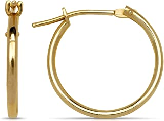 Solid 14k Gold 1mm Classic Tube Hoop Earrings (10mm-25mm) (yellow or white)