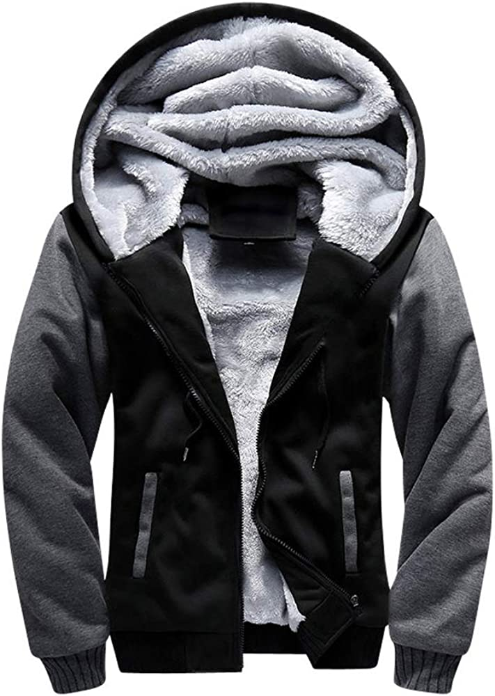 HUPAI Men's Plush Padded Sweater Hooded Pullover Hoodie Jacket Cotton Coat