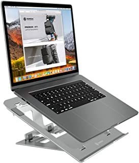 tomtoc Aluminum Laptop Stand, Foldable Notebook Stand with Adjustable Eye-Level Ergonomic Design, Portable Laptop Holder for MacBook Air Pro, Dell XPS, Surface Laptop and More 11 to 15.6 Inch Laptop
