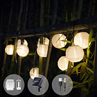 Solar String Lights Lantern Waterproof LED Christmas Fairy Lights USB Battery 3 Charging Port for Indoor Outdoor Garden Yard Party Decoration 22FT (50LED Warm White)