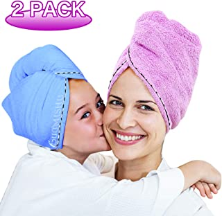 2 Pack Bigger Plus Size Hair Towel Wrap Turban Microfiber Drying Bath Shower Head Towel with Buttons, Quick Magic Dryer, Dry Hair Hat, Wrapped Bath Cap By Duomishu (Blue & Purple)