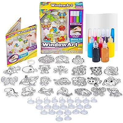 Window Paint Art Stickers Kit Kids – Children's Make Your Own Fun Suncatchers Set – [24] Sun Catchers, [24] Suction Cups & [11] Paints – DIY Car Window & Mirror Arts & Crafts Kit Children