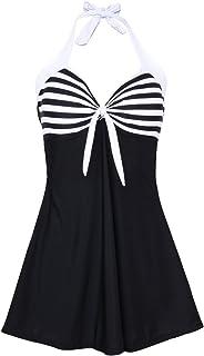 ninovino Women's One Piece Swimdress Vintage Stripes Print Halterneck Swimsuits Bathing Suit Dress