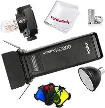 Godox AD200 200Ws 2.4G TTL HSS Cordless Flash Speedlite with Bare Bulb/Speedlite Fresnel Flash Head, BD-07 Barn Door Kit, 2900mAh Lithimu Battery, Standard Reflector, Flash Tube Protector