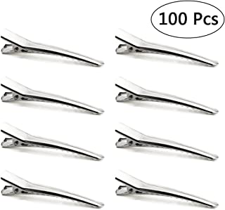 Bignc 100pcs 6cm Hair Clips, Silver Alligator Teeth Prongs Clips, Teeth Bows Hair Clips, Hairdressing Salon Hair Grip, DIY Accessories Hairpins for Women and Girls