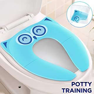 Gimars Upgrade Stable Folding Travel Portable Potty Training Seat Cover Fits Most Toilet, No Falling by 6 Large Non-slip Silicone Stopper, Come with Carry Bag for Toddler Kid Boy Girl, Turquoise Color