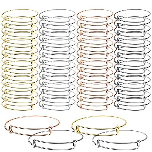 Huante 60 Pcs Expandable Bangle Bracelets Adjustable Wire Bracelets, Blank Bangles for DIY Jewelry Making