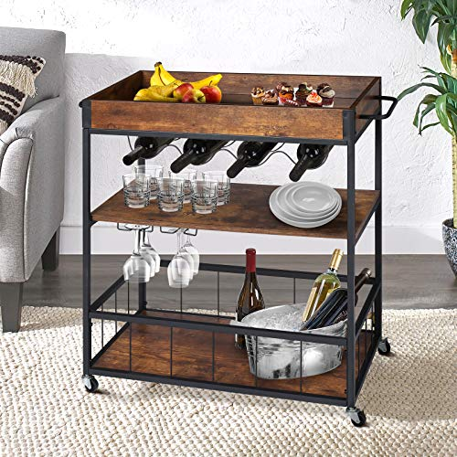 KINGSO Bar Cart with Wine Rack Glass Holder, Kitchen Serving Cart with Lockable Universal Casters, Industrial Bar Cart for Home & Bar, Rusic Brown