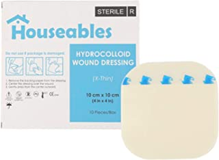 """Houseables Hydrocolloidal Bandage, Wound Care Dressing, 4"""" x 4"""", 10 Pack, Natural, Polyurethane, X-Thin, Hydrocolloid CGF Bandages, Leg Ulcer Dressings, Bed Sore Patches, Adhesive Pads, Scab Treatment"""