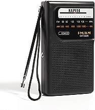 Portable Pocket Transistor Radio Battery Operated AM/FM Radio - Best Reception, Longest Lasting, Built-in Speaker and 3.5mm Headphone Jack for Walking Hiking Camping (Black)