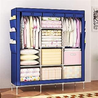 "Shirleyle-Hocu Portable Closet Organizer Portable Clothes Closet Non-Woven Fabric Wardrobe Storage Organizer (Color: Grey - 51"" Length x 18"" Width x 69"") Easy to Assemble (Color : Blue)"