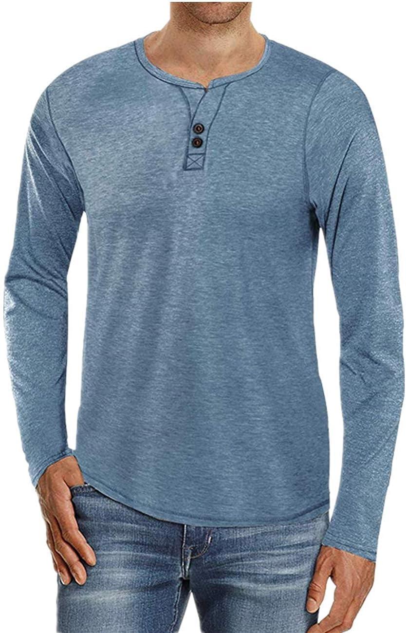 de algod/ón transpirable talla grande Cyiozlir Camiseta de manga larga para hombre con botones
