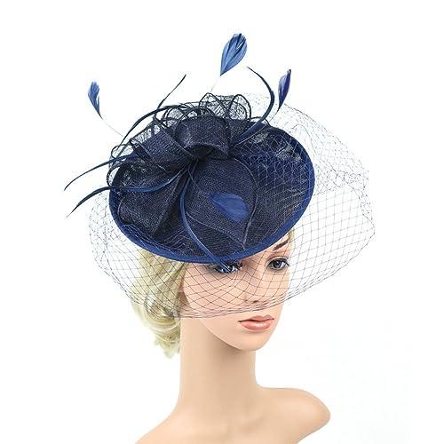ACTLATI 1920s Fascinator Net Face Veil Feather Headband Flax Tea Party Top Hat  Headwear Bridal Hairband 942881360dd