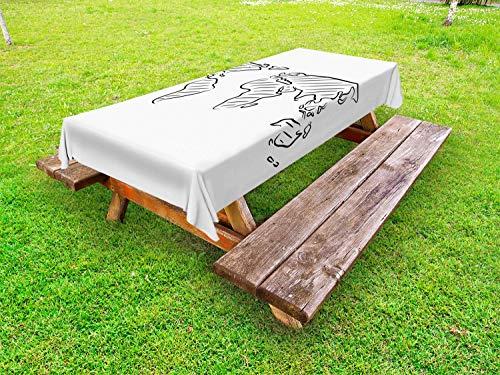 ABAKUHAUS Weltkarte Outdoor-Tischdecke, Skizze Umriss, dekorative waschbare Picknick-Tischdecke, 145 x 210 cm, Schwarz-Weiss