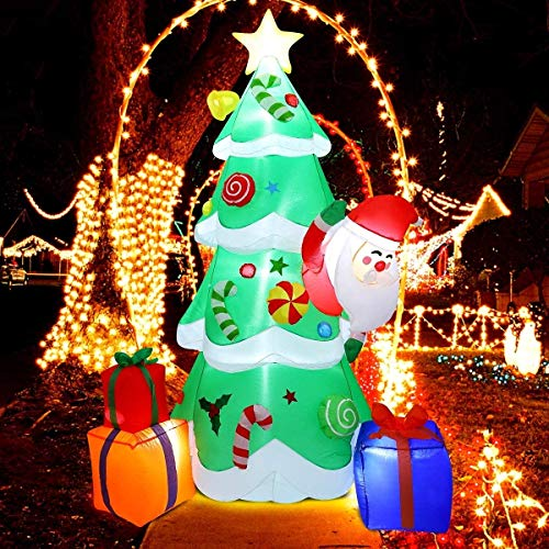 AAROND Christmas Inflatables 7ft Christmas Decorations - Outdoor Inflatable Christmas Tree Blow Up Christmas Decorations Built-in LED Lights with Tethers, Stakes for Outdoor, Yard, Garden, Lawn