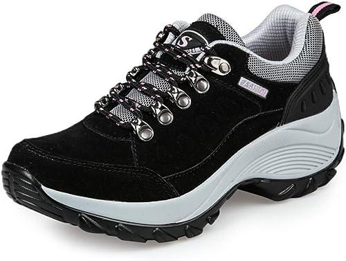 YAN paniers Printemps Nouvelles Chaussures de Sport en Daim Chaussures Basses-Top Décontracté chaussures Chaussures de Plate-Forme antidérapantes Chaussures d'athlétisme Chaussures de Formation,noir,42