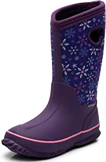 Girls' Neoprene Rubber Waterproof Rain Boots for Kids Non Slip Mud Boots Winter Warm Outdoor Durable Snow Boots