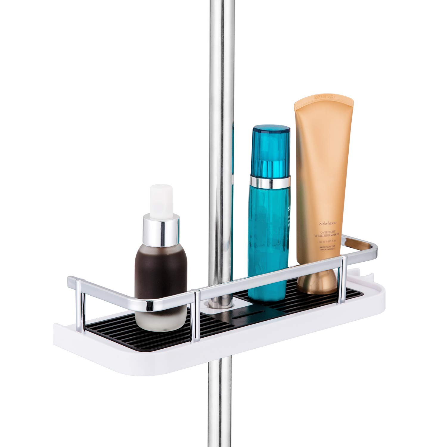 Bathroom Shower Shelf 25mm Rail Hanging Shower Rack,Space Aluminum Shower Caddy Shelf Rack Organizer with Rail 2 Hooks Holder Stand for Soap Shampoo Conditioner,NO Drilling Wall Mounted-Suit 19mm
