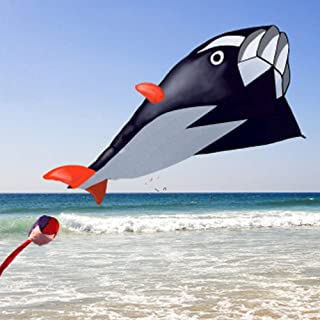 FAVOLOOK Huge Kite, Flying Dolphin Kite Single Line Soft Parafoil Giant, 3D Stunt Power Novelty Kites with Handle & String - Easy to Fly - Children's Toys Sport Outdoor Beach or Park Outdoor Games