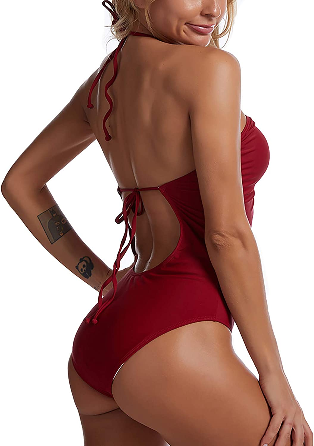 Fishoneion Women's Spaghetti Strap Front/Back Cut-Out One Piece Summer Swimsuits Thong Swimwear