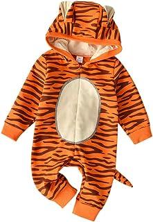 Traje de Animales para Bebe Niño Mono Tigre Invierno Ropa de Bebe Recién Nacido Niño Body Hooded Manga Larga Bodis Pijama Mameluco Bebe 3 a 6 Meses, 3-24 Meses