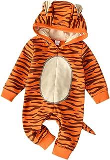 Lanhui Outfits for Newborn Baby Unisex Girls Boys Cartoon Tiger Hooded Jumpsuit (3-6 Months, Orange)