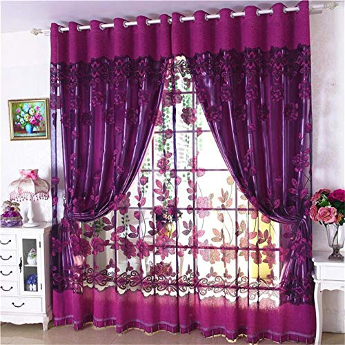 Jacquard Window Curtain 39 Inch Length Floral Curtain Drape Panels Valance with Lace Sheer Backing Tassels Attached Fancy Valance for Living/Dining Rooms (Deep Purple)