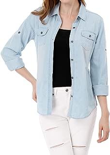 Women's Button Down Rolled Sleeves Denim Shirt Top