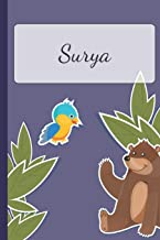 Surya: Personalized Notebooks • Sketchbook for Kids with Name Tag • Drawing for Beginners with 110 Dot Grid Pages • 6x9 / A5 size Name Notebook • ... Personal Gift • Planner and Journal for kids