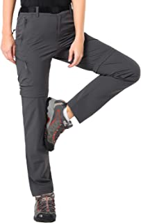 MIER Women's Quick Dry Convertible Cargo Pants Lightweight Stretchy Hiking Pants, 5 Zipper Pockets, Water Resistant