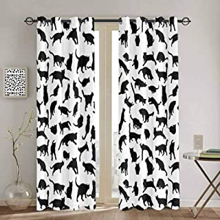 DONEECKL Cat Lover Wear-Resistant Color Curtain Black Silhouettes of Cats in Different Poses Scratching Stretching and Playing for Living Room or Bedroom W52 x L84 Inch Black White
