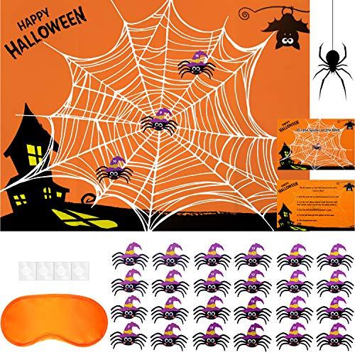 Juegos de Fiesta de Halloween Juego de Pegar Araña a Telaraña Juego de Pin de Halloween para Suministros de Decoraciones de Fiesta de Halloween