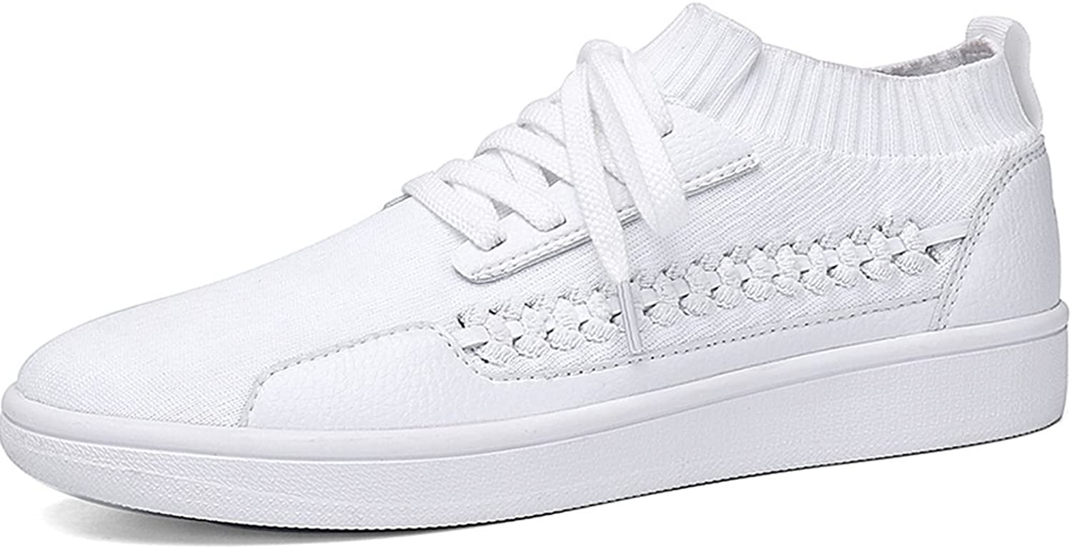 Soulsfeng Men's Women's Sports shoes Fashion Sneakers Lace up Cushioning shoes Breathable Flyknit shoes White