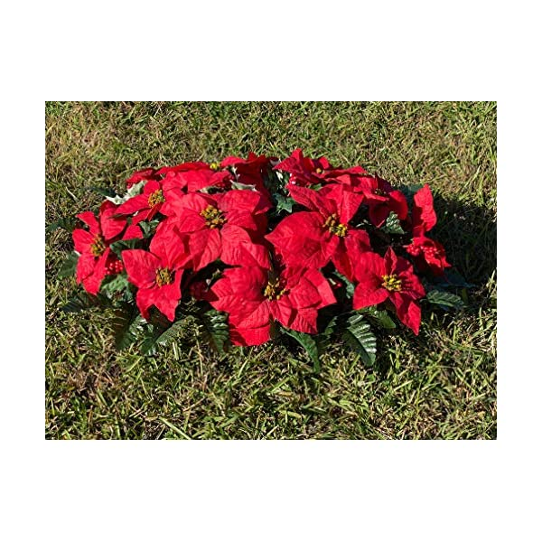 Red Poinsettia Cemetery Headstone Arrangement