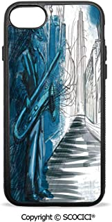 SCOCICI Non-Slip Drop Protection Smart Cell Phone Case Saxophone Man Playing Solo in The Street at Night Vibes Grunge Home Decor Compatible with iPhone 7