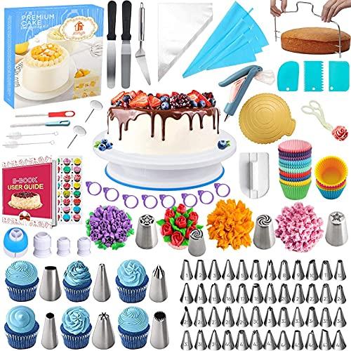 Nifogo Decoración de Pasteles Kit 300 pcs, Boquillas Manga Pastelera, Kit Reposteria con Plato Giratorio para Tartas, 58 Boquilla, 103 Manga pastelera, Espátula