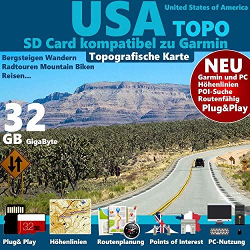 ★USA Karte kompatibel mit Garmin Outdoor Topo auf 32 GB microSD. Topografische GPS Freizeitkarte für Fahrrad, Wandern, Touren, Trekking, Geocaching, Bergsteigen, Radfahren, Radtour