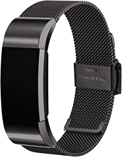 CapsA Watch Band Compatible Fitbit Charge 2 Milanese Stainless Steel Metal Magnetic Replacement Wristband for Women Men