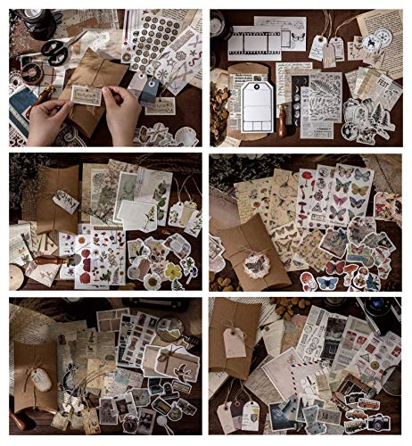 180pcs Vintage DIY Scrapbooking Stickers Pack, Decorative Antique Retro Natural...
