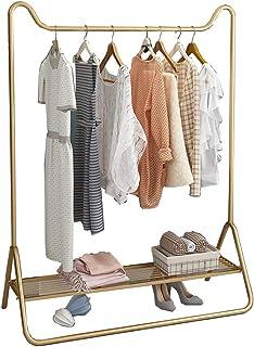 JIE- Porte-manteau Fer Forgé Doré Porte-vêtements Salon Chambre Penderie Avec Tige Supérieure Et Tablette De Rangement Inf...