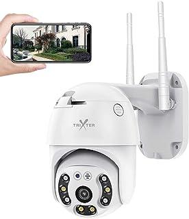 PTZ Mini Cámara De Seguridad Exterior WiFi Inalambrica HD 1080P, Cámara de Vigilancia Impermeable IP66, IR Visión Noturna ...