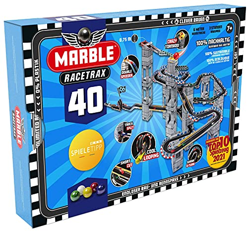 Marble Racetrax 869027 - Murmel Rennbahn Starter Set 40 teilig, Kugelbahn mit 6 Meter Laufstrecke & 5 Murmeln, Murmelbahn Bastelset, Bauset aus FSC Karton, Konstruktionsset für Kinder ab 8 Jahre