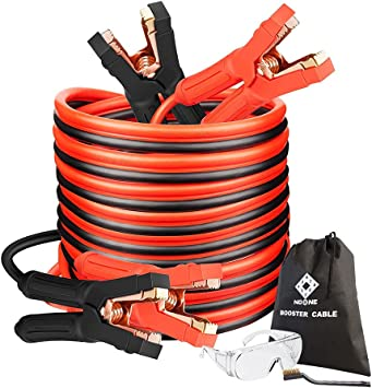 Jumper Cables with Smart-6 Protector, Heavy Duty Booster Cables 0 Gauge 25Feet (0AWG x 25Ft) 1000Amp with Goggles Gloves Cleaning Brush in Carry Bag: image