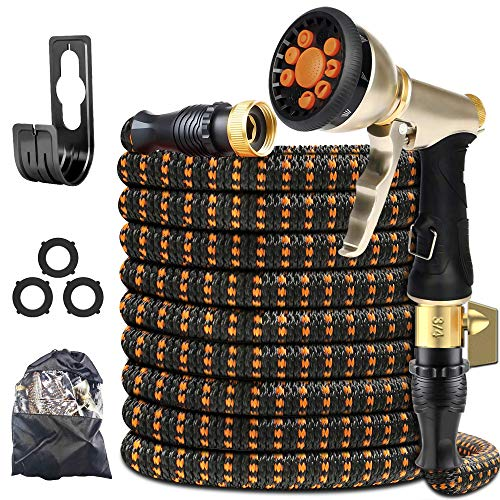 """XBUTY Garden Hose Expandable (Patented) - Super Durable Water Hose with Upgraded Anti-Leak System, 4-Layer Latex Tube, Premium 3750D Fabric, 9-Way Metal Sprayer, 3/4"""" Solid Brass Fittings (50FT)"""