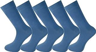Mysocks, 5 pares de calcetines lisos Unisex Hecho del algodón peinado más fino Azul