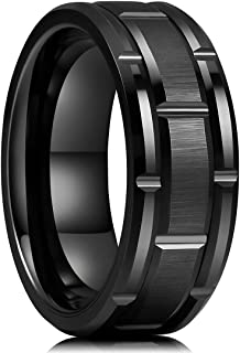 King Will Classic Mens 8mm Silver/Black/Gold/Rose Gold Tungsten Carbide Wedding Band Brick Pattern Brushed Finish